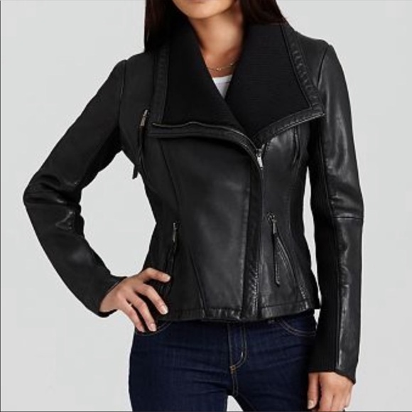 casual shoes find lowest price low price sale Michael Kors Wing Collar Knit Leather Jacket